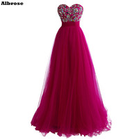 Elegant Evening Dress Rose Red Tulle Evening Dresses Long Satin Crystal Sweetheart Formal Party Dresses Lace Up Prom Gown