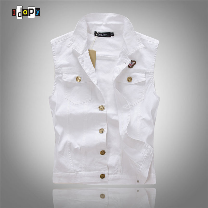 Idopy New Arrival Mens White Denim Vest Single Breasted Party Stage Slim Fit M-3XL Waistcoat Cotton Jacket For Skinny Men