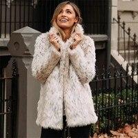 Leopard Print Faux Fur Coat Jacket 2018 Winter Fluffy Teddy Jacket Streetwear Long Fur Shaggy Coat Luxury Faux Fur Coat