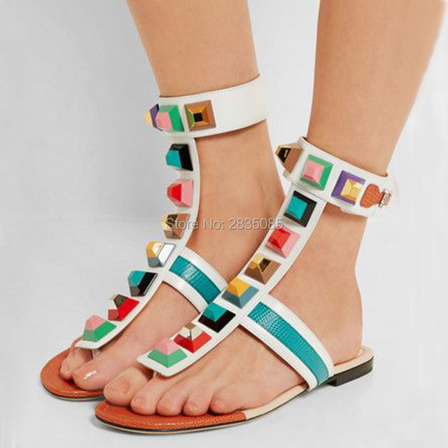 d56185429b1 Sweet Summer Shoes Woman 2018 T-Strap Beach Thong Sandal Sexy Casual Flip  Flops Colorful Rivets Studded Gladiator Sandals Flat