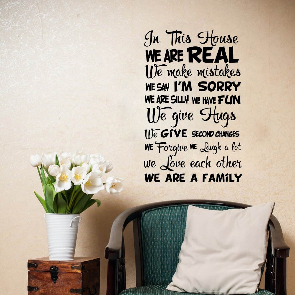 US $4.39 12% OFF Family Quotes In This House We Are Real Wall Decals For  Living Room Art Vinyl Wall Stickers For Sitting Room Decoration-in Wall ...