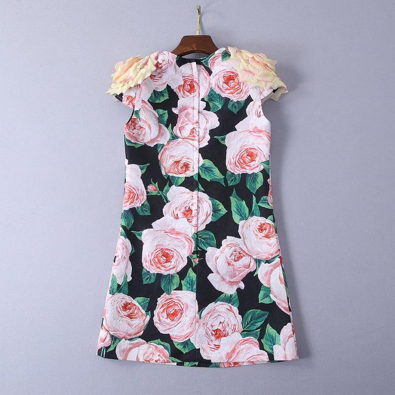 Mujeres Vestidos Pista De Y Elegantes Floral Impreso 2019 La Vestido Apliques Mini Las Verano Primavera q0g61
