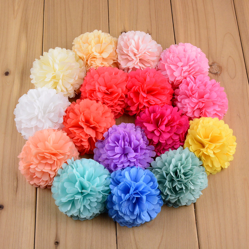 200pcs lot 40 Colors Available Strip Chiffon Ball Flower Hair Ornament Without Clip Headwear Accessories MH13