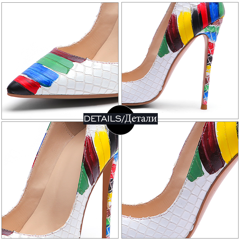 Image 5 - WETKISS Emboss Leather Pumps Women Pointed Heels 12cm Shallow Shoes Female Colorful Shoes Crocodile High Heels Party Summer 2019-in Women's Pumps from Shoes