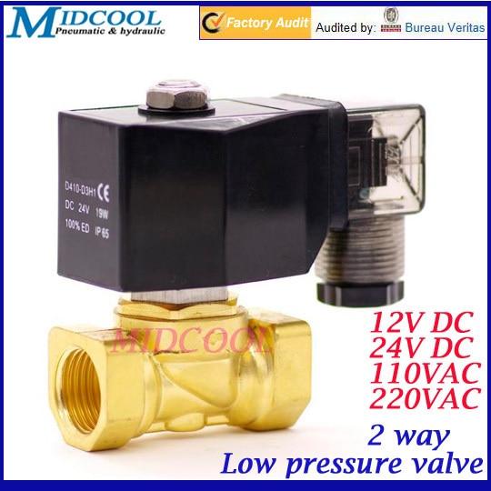 0 1bar низкое давление 2 ходовой газовый электромагнитный клапан 3/4 24 В DC NBR латунный клапан прямого действия тип NC