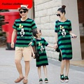2017 Mother Daughter Dresses Fashion short Sleeve Striped Family Look Matching Clothes Cotton father And son T-shirts Clothing
