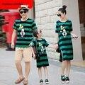 2017 vestidos de moda a rayas de manga corta familia de madre e hija juego mirada ropa de algodón padre e hijo clothing t-shirts