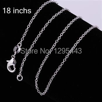 Wholesale 925 Stamped Silver Plated 1mm Chain Necklace18″ New Fashion Jewelry Charm Free Shipping C001