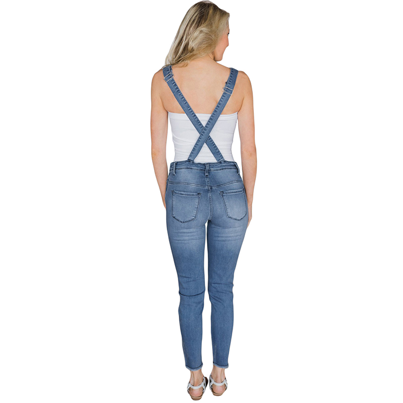 Pantalones Blue Luz light Ajustables Distressed Nuevas Tirantes Mujeres Longitud Monos Tobillo Blue 2018 Azul Oscuro De La Moda Dark Blanqueado Jeans HU1qAXqvF