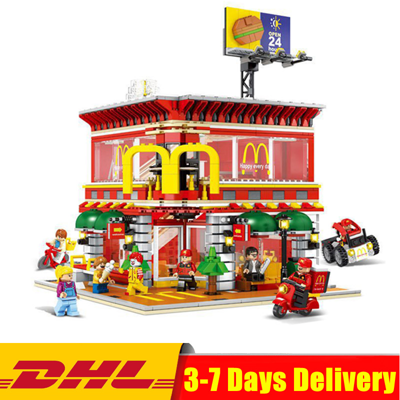 Здесь можно купить  SD6901 1729 Pcs Architecture City LED MacDonalds Restaurant 4in1 Street View Model Bricks Block Educational Toys for Children  Игрушки и Хобби