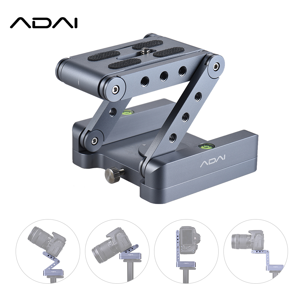 ADAI Z Flex Tilt Tripod Head Aluminum Alloy Folding Quick Release Plate Stand Mount For DSLR