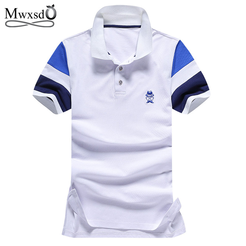 Mwxsd brand Men's Polo shirt Solid Color Short-Sleeve Slim Fit Shirt Men Cotton polo Shirts Casual Camisa Polo Plus M-3XL