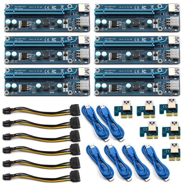 6pcs/lot 009S PCI e USB 3.0 Wire Miner 1x To 16x Extender Riser Card ...