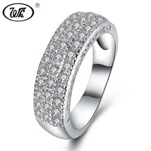 WK Romantic Genuine 925 Sterling Silver Jewelry Ring Exquisite Flat Elegant Diamond Silver Rings For Women Girls Gift W4 NRY10
