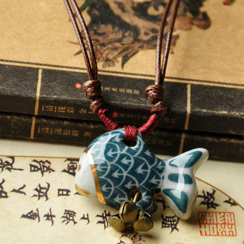 Double Tassel Weave Rope Necklace Ceramic Blue Fish Charm Pendant Chokers For Women /Men Bells Chains Statement Fashion Jewelry
