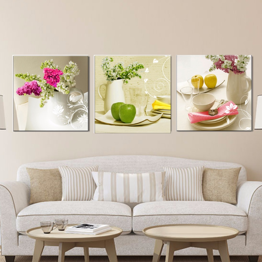3 Pcs Canvas Paintings For Kitchen Fruit Wall Decor Modern Flowers Canvas Art Wall Decorative Pictures For Living Room No Frame Takofashion Women S Clothing Fashion Online Shop