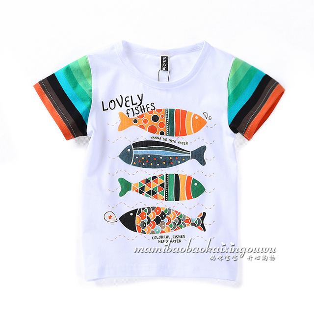 Nuevo estilo del verano 2015 niños camisetas de ropa de bebé niños peces de manga corta Casual camiseta infantil de cuello redondo pullover