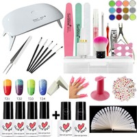 Nail Art Pro DIY Full Set Soak Off UV Gel Polish Manicure Set Mini Curing Lamp Kit Any 4 Colors&Base Top Set Nail Gel Nail Tools