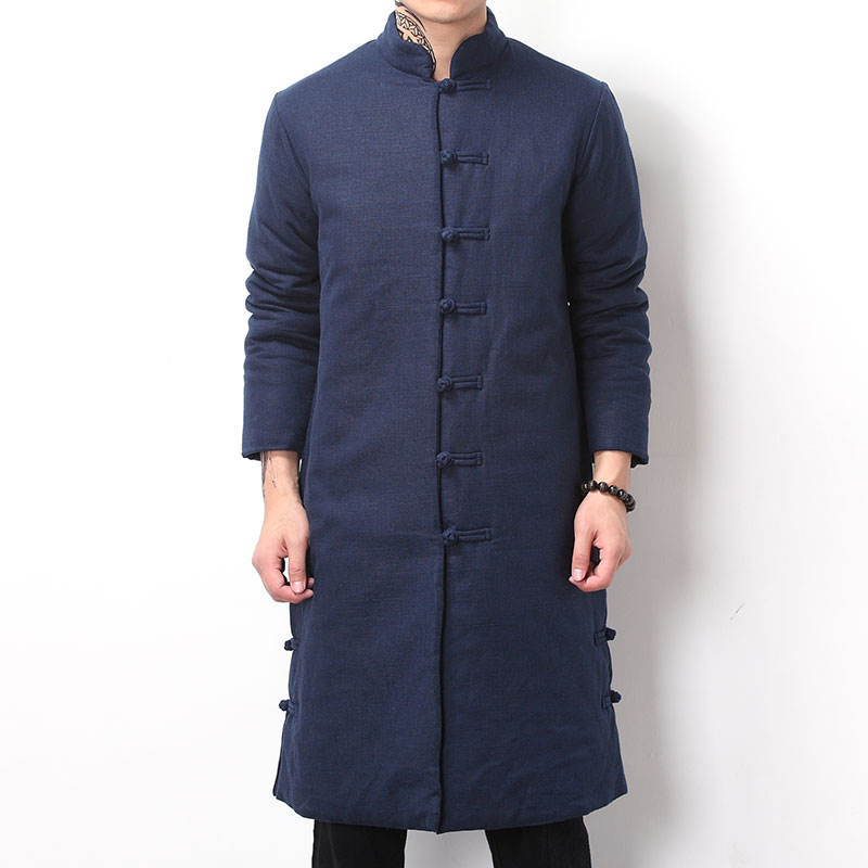 Chinese Style Retro Button Decoration Mens Long Linen