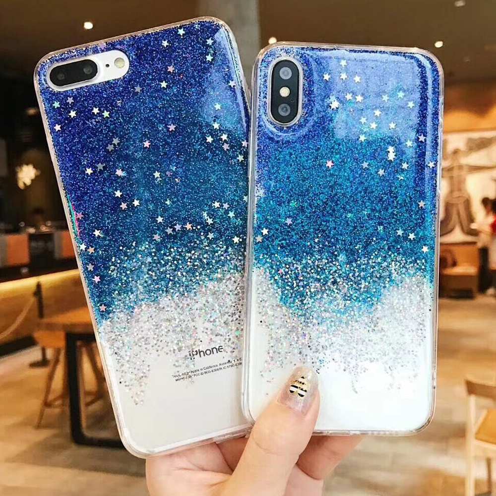 LOVECOM Phone Case For iPhone X 6 6S 7 8 Plus Glitter Blue Star Epoxy Soft  Full Body Shiny Phone Back Cover Cases Coque Gifts 5d240cdbee50