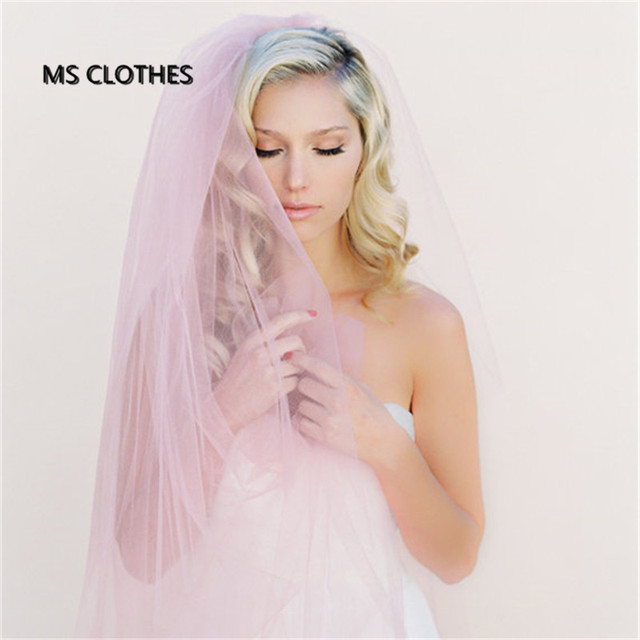 Simple Pink Champagne Tulle DIY Wedding Veils Without comb Cut Edge Long Fashion Bridal Veils Wedding Accesories
