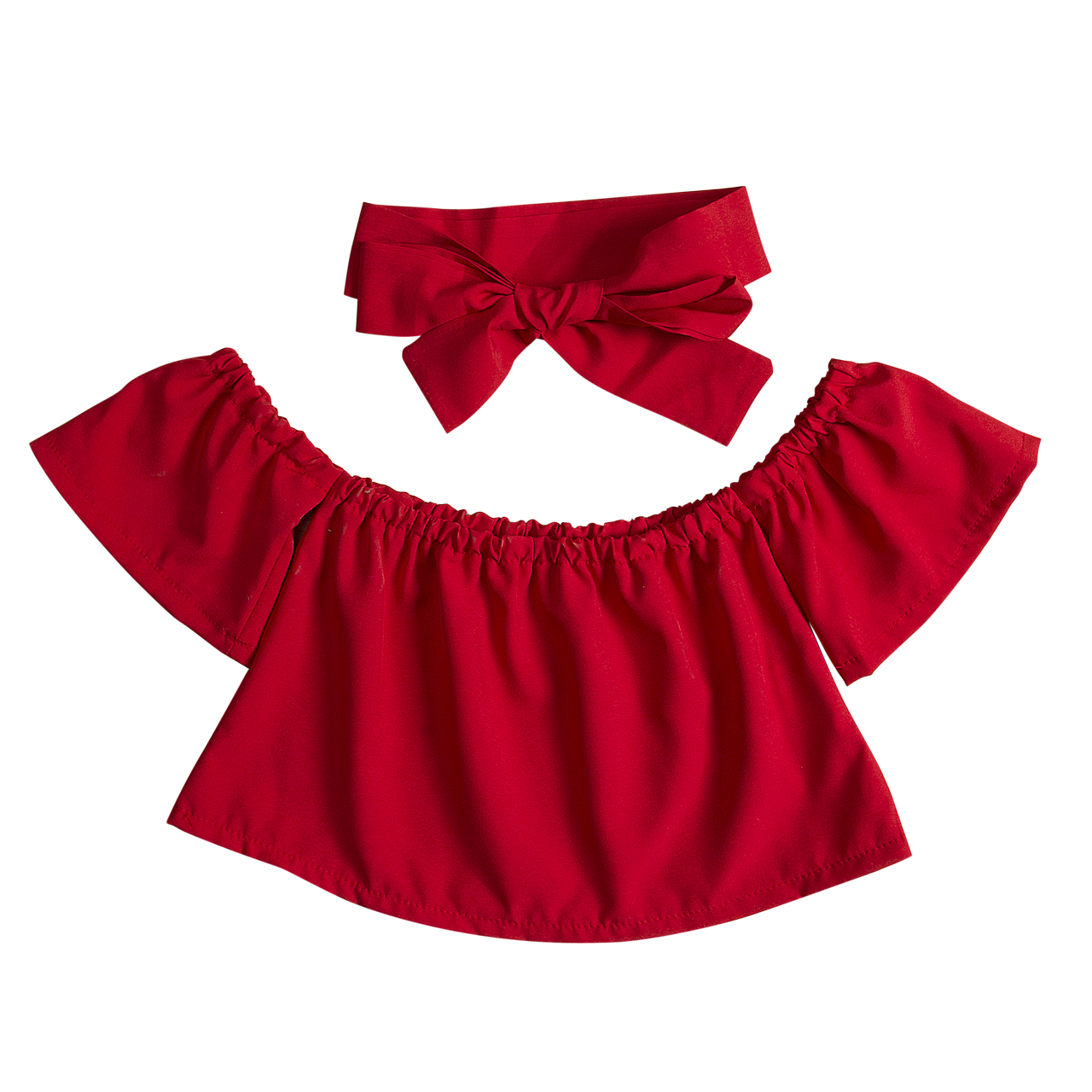 Kid Baby Girs Off Shouler Pure Color T-shirt Outfits Sunsuit Ruffle Clothes +Headband Ho ...