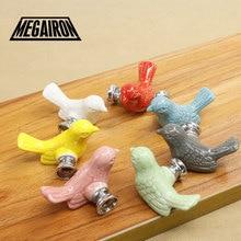 Megairon Керамика птица ящика ручки детская комната шкаф ручки шкафа Цвет мода тянуть ручки с Шурупы