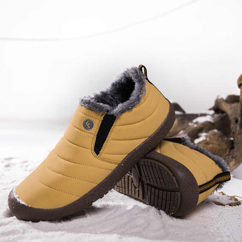 Dış pamuklu ayakkabılar yardımcı olmak için düşük erkek kar botları sıcak kalın alt kayma artı kadife H-6822