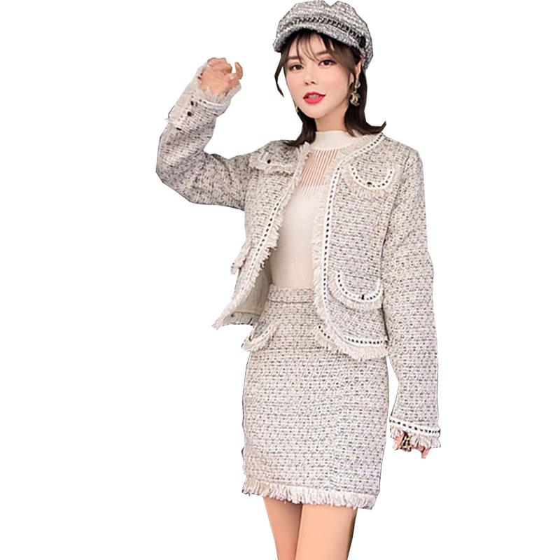 Photo Per Le Crop Donne Pezzi Pezzo Abbigliamento Color Tweed Alla 2 Due K4257 Gonna Moda Top Set Autunno Giovanile E Delle New Vestiti 4wE65qW51
