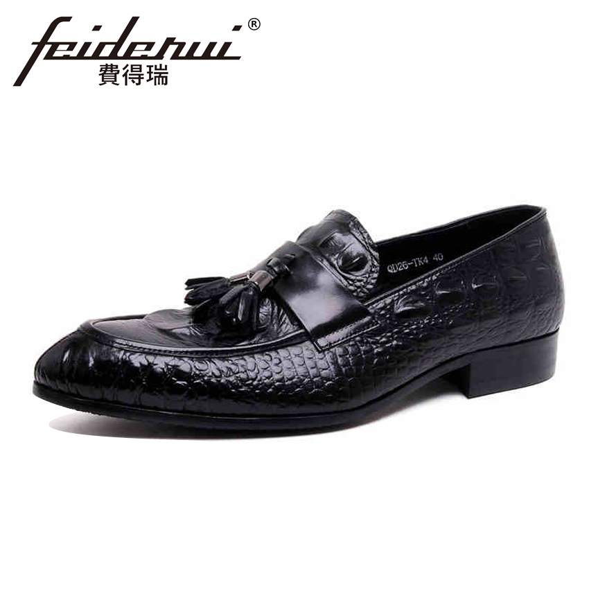 New Arrival Genuine Leather Alligator Pattern Men's Loafers Round Toe Slip on Handmade Man Flats Comfortable Casual Shoes YMX105 new summer breathable men genuine leather casual shoes slip on fashion handmade shoes man soft comfortable flats lb b0009
