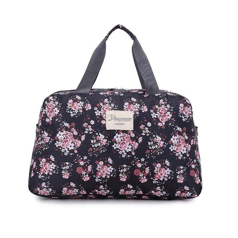 Travel bag folding duffel bag portable bags luggage S/L large-capacity waterproof Flowers bag female 43*26.5*10 Portable Handbag