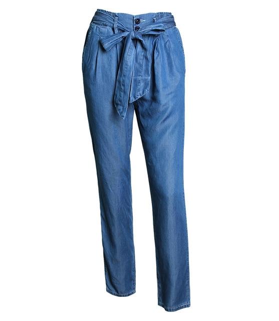 Moda mujer alta cintura Vaqueros mujer casual Denim Pantalones anchos  correa elástica delgada Correa Pantalones pantalon 6d4ce705c267