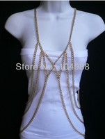 FREE SHIPPING 2014 NEW WOMEN GOLD OR SILVER FASHION FRONT BOW METAL BODY CHAIN JEWELRY TRENDY