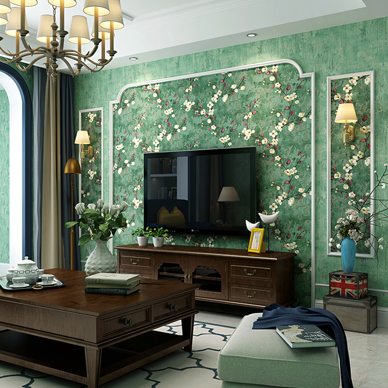 053x10 Meters Nostalgic Country Style Dark Green Plum Pattern Non Woven Wallpaper Wedding Room Living Bedroom In Wallpapers From Home