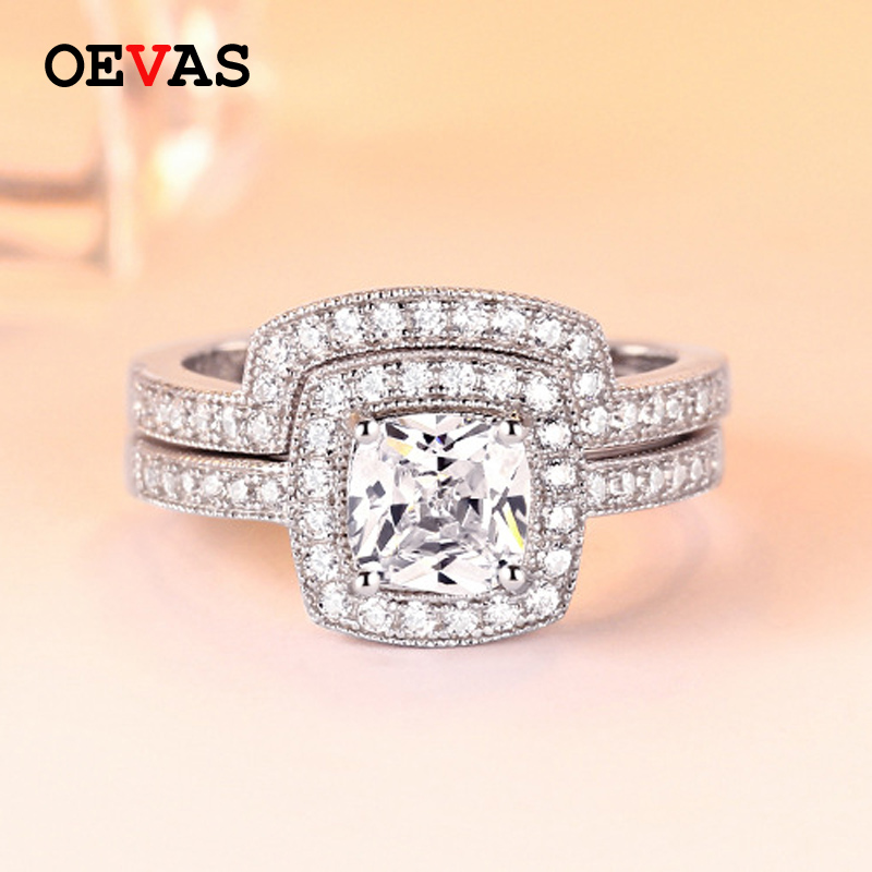 2019 New brand 925 Sterling Silver wedding rings set for women Top quality S925 Silver Engagement Lovers Anniversary Jewelry