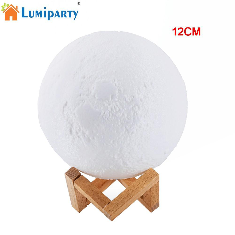 LumiParty 12cm Simulation 3D Moon Night Light 3 LEDs USB Rechargeable Moonlight Desk Lamp with Wood Base