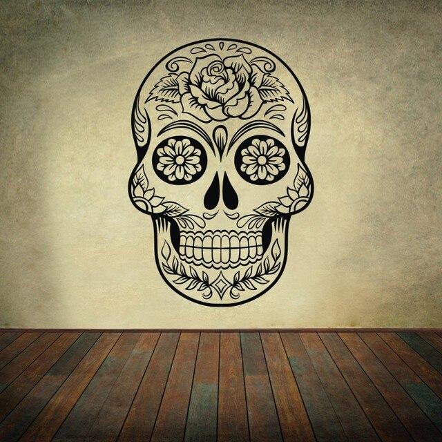 Sugar Skull mexico office Wall art Vinyl Wall Sticker Decal Floral ...