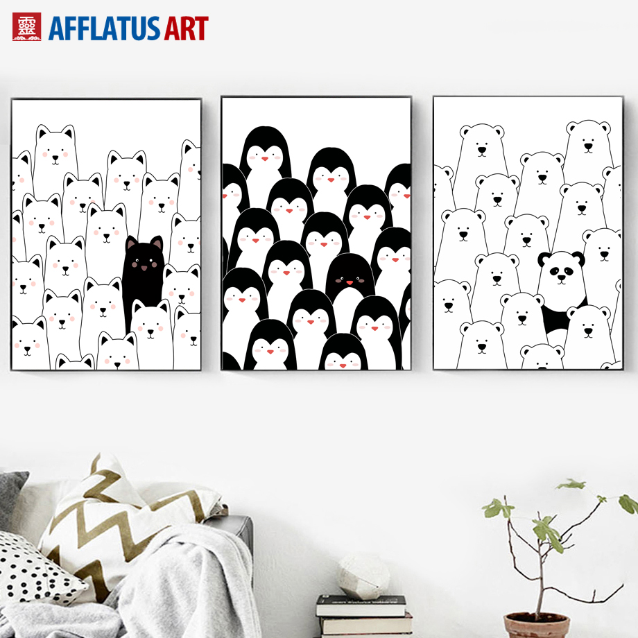black white bear penguin cat nordic posters and prints wall art canvas painting animals wall pictures for living room home decor in painting calligraphy