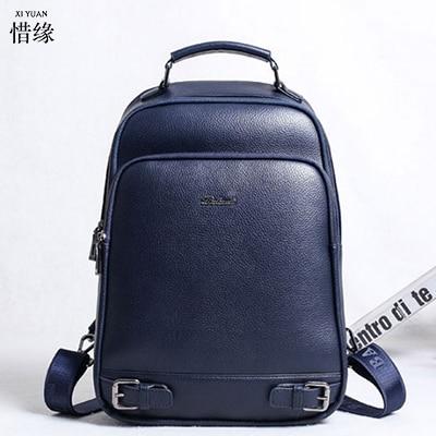 Famous Brand Genuine Leather Men Backpack Large Knapsack Bolso Luxury Designer Leather backpacks School Bag Laptop