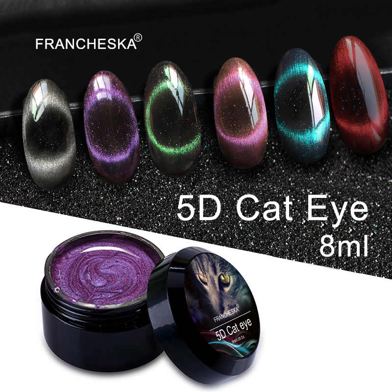 Francheska 8 Ml Cat Eye 5D Gel Nail Varnish UV LED Magnet Hybrid Pernis Lacquer Nail Art Set Primer base Top Coat Gellak