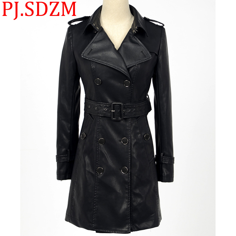 Korean Slim Women Medium Long Faux   Leather   Jackets Female Classic PU Large Size Coats Motorcycle Outerwear Black Autumn Winter