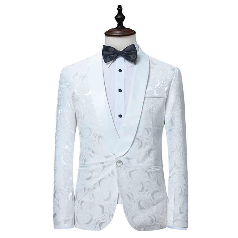 メンズ白花ワンボタンスーツパーティー結婚式新郎タキシード花婿の付添人 2 ピーススーツ (ジャケット + パンツ) 男性衣装マリアージュオム