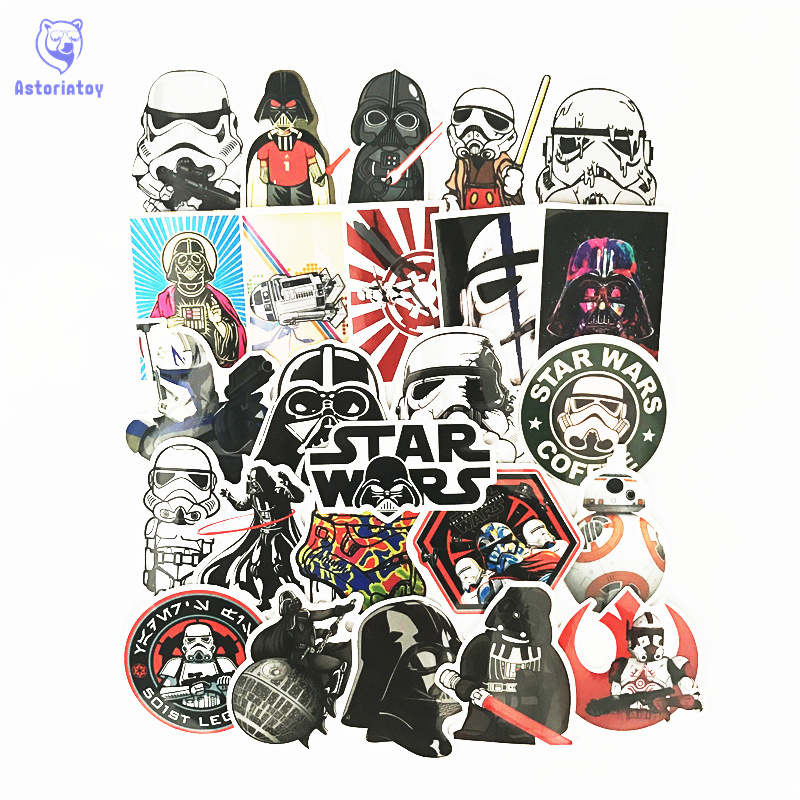 25 pz/lotto Star Wars Darth Vader soldati bianchi Notebook frigorifero di skateboard trolley caso decalcomanie zaino Tavoli