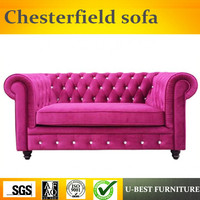 U BEST Goodlife living room furniture royal decorative 2 seat chesterfield sofa,American VELVET SOFA
