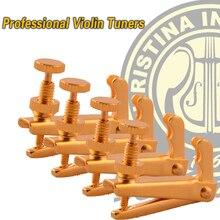 Freies verschiffen Goldenen Feinen Tuner 4/4 violine professionelle tuning, saiten Teller Hohe qualität Violine teile, musikinstrumente