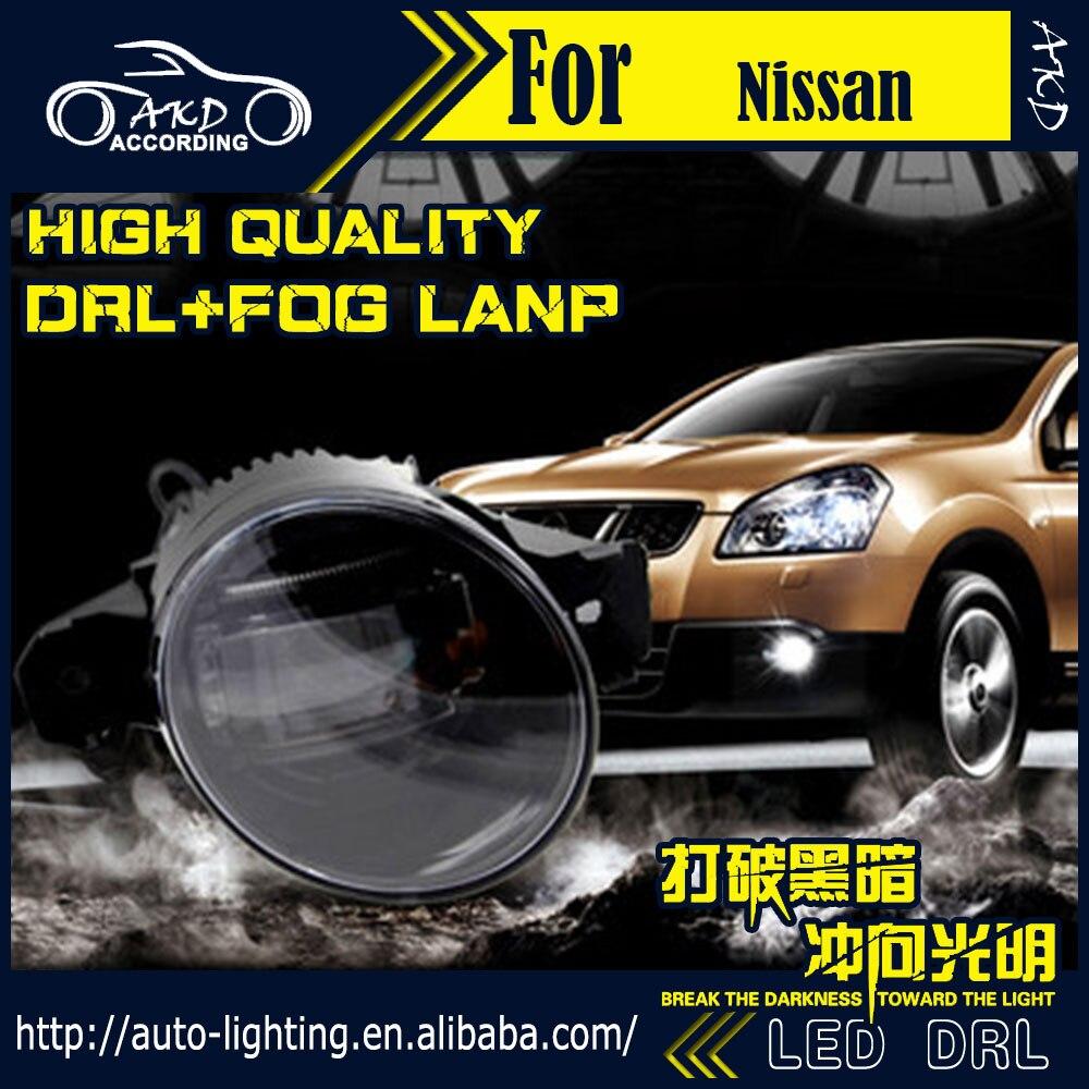 AKD Car Styling Fog Lamp for Nissan Tiida DRL LED Fog Light LED Headlight 90mm high power super bright lighting accessories ветровики prestige nissan tiida hb 04