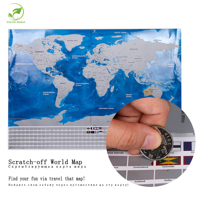 7b5dac8dac 2018 Deluxe Travel Scratch Off World Map Blue Ocean Retro Creative Wall  Stickers DIY Poster Map With Flag for Home Decoration