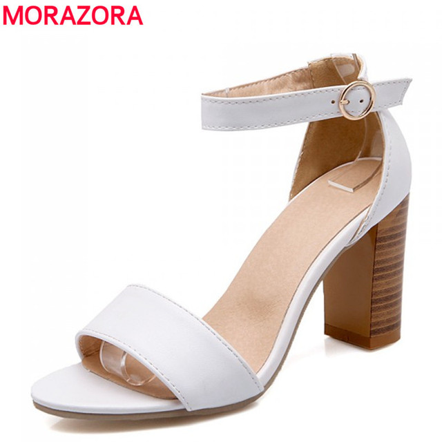 MORAZORA 2016 nova chegada sapatas das mulheres sapatos de verão sandálias de salto alto preto branco vestido da senhora sólida