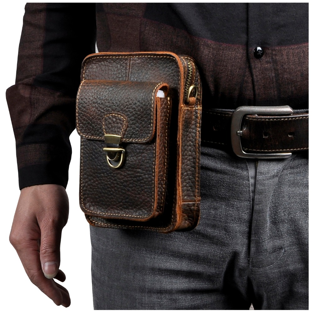 Quality Leather Men Multifunction Casual Design Small Messenger Shoulder Bag Fashion Waist Belt Bag 6