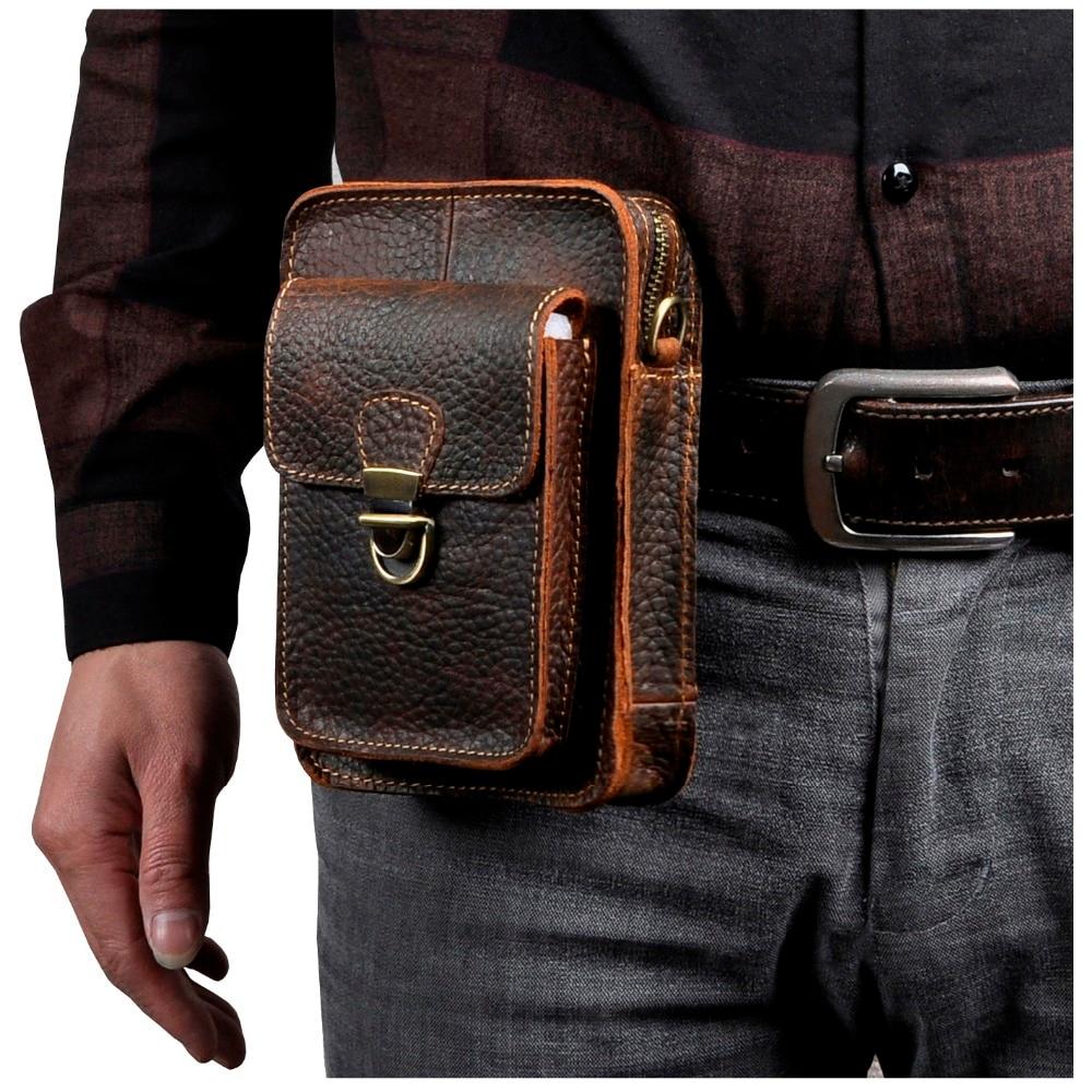 Quality Leather Men Multifunction Casual Design Small Messenger Shoulder Bag Fashion Waist Belt Bag 6